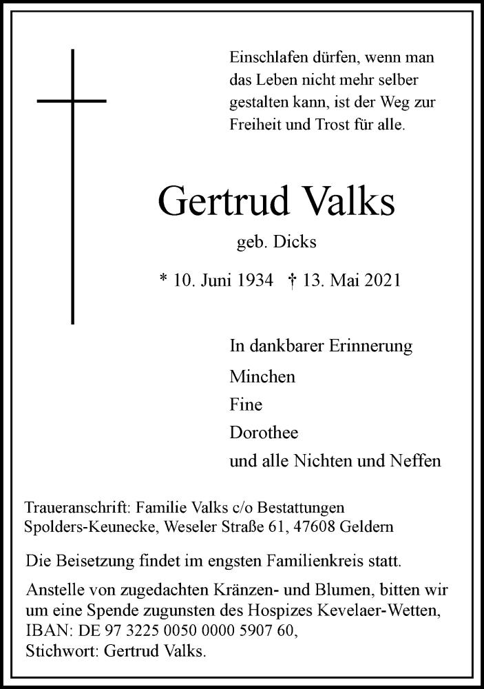 Traueranzeige für Gertrud Valks vom 22.05.2021 aus Rheinische Post