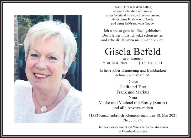 Traueranzeige für Gisela Befeld vom 22.05.2021 aus Rheinische Post