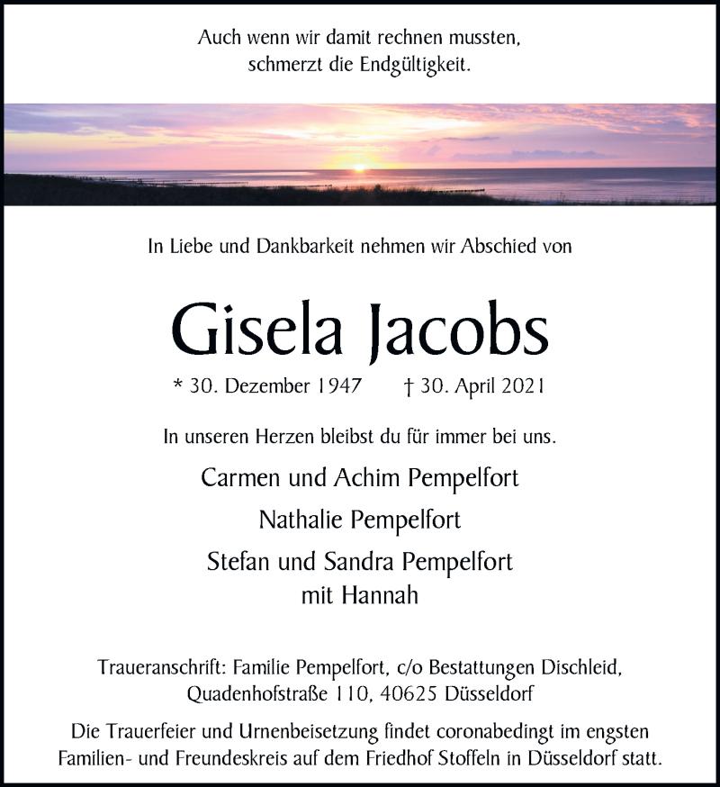Traueranzeige für Gisela Jacobs vom 15.05.2021 aus Rheinische Post