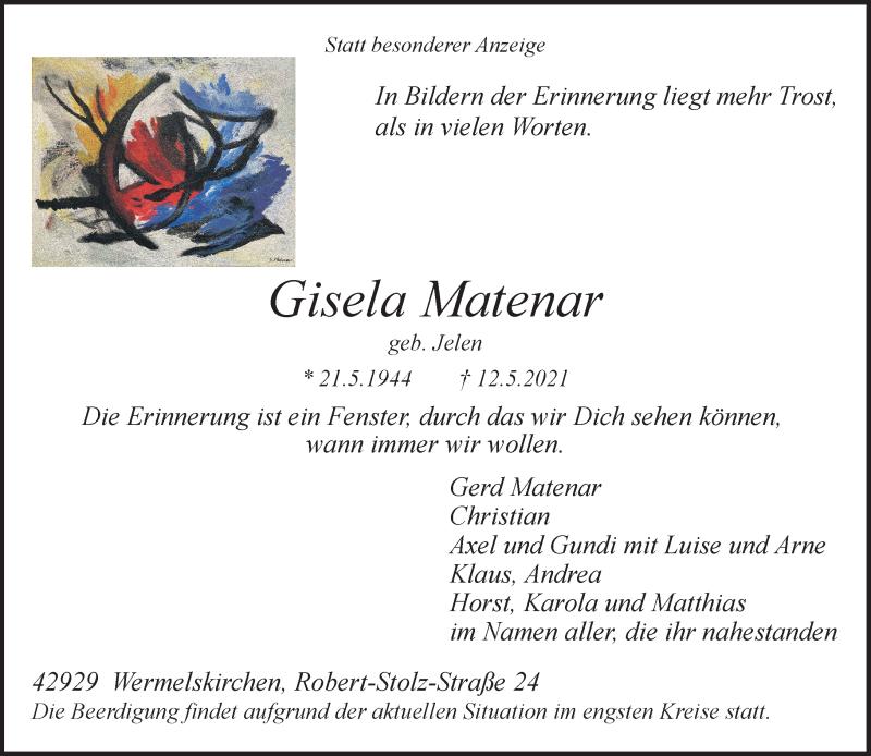 Traueranzeige für Gisela Matenar vom 18.05.2021 aus Rheinische Post
