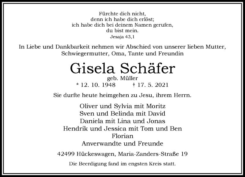 Traueranzeige für Gisela Schäfer vom 22.05.2021 aus Rheinische Post