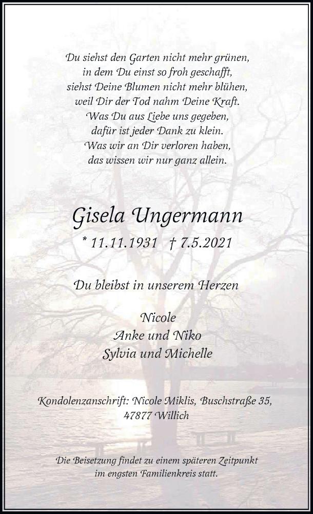 Traueranzeige für Gisela Ungermann vom 22.05.2021 aus Rheinische Post