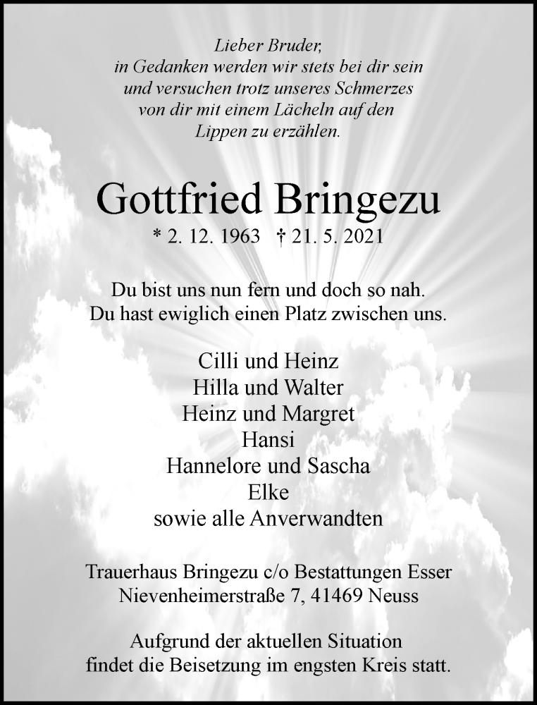 Traueranzeige für Gottfried Bringezu vom 29.05.2021 aus Rheinische Post