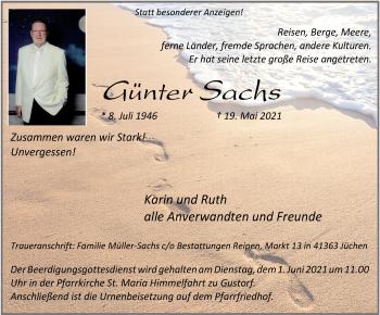 Traueranzeige von Günter Sachs von Rheinische Post
