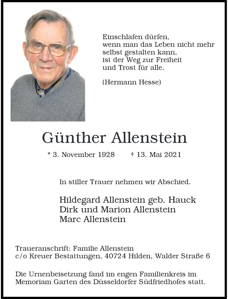 Traueranzeige für Günther Allenstein vom 05.06.2021 aus Rheinische Post