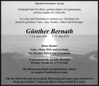 Traueranzeige von Günther Bernath von Rheinische Post