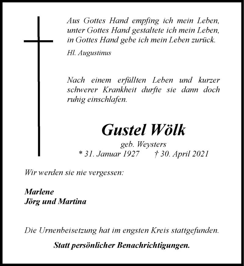 Traueranzeige für Gustel Wölk vom 29.05.2021 aus Rheinische Post