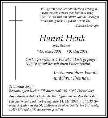 Traueranzeige von Hanni Henk von Rheinische Post