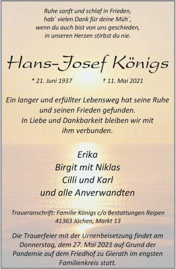 Traueranzeige von Hans-Josef Königs von Rheinische Post
