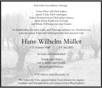 Traueranzeige von Hans-Wilhelm Müller von Rheinische Post
