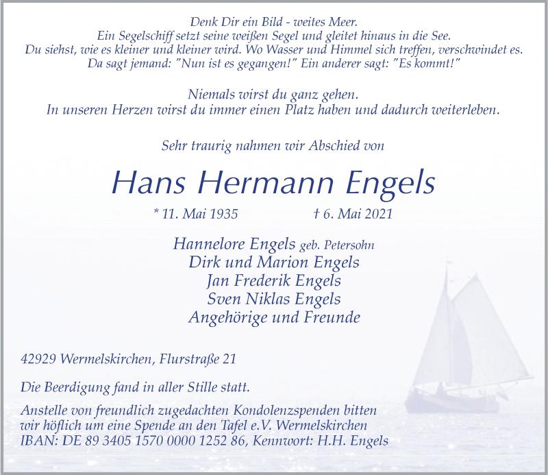 Traueranzeige für Hans Hermann Engels vom 21.05.2021 aus Rheinische Post