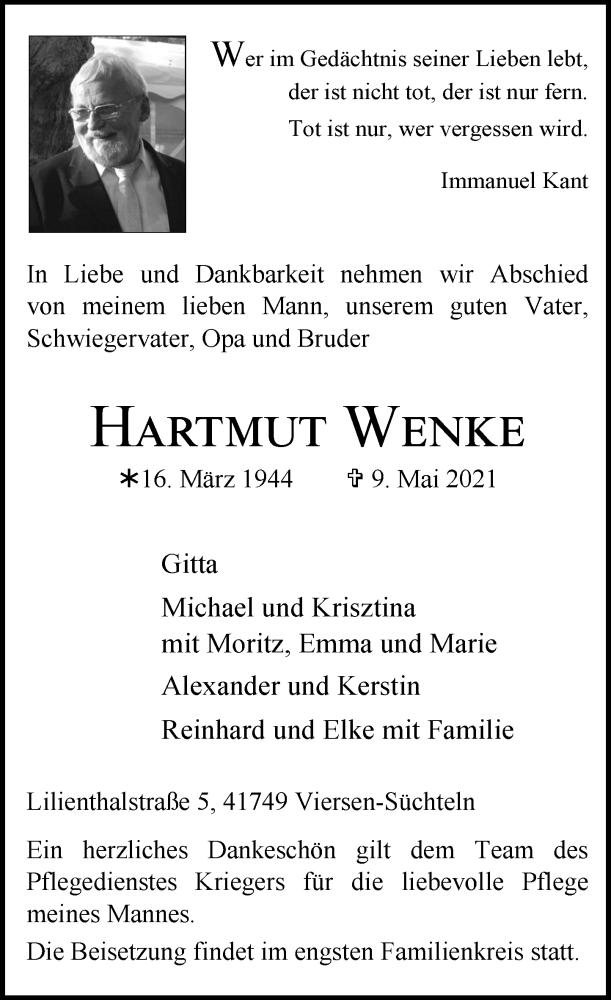 Traueranzeige für Hartmut Wenke vom 15.05.2021 aus Rheinische Post