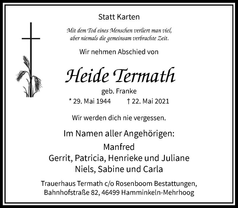 Traueranzeige für Heide Termath vom 29.05.2021 aus Rheinische Post