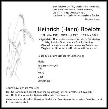 Traueranzeige von Heinrich Roelofs von Rheinische Post
