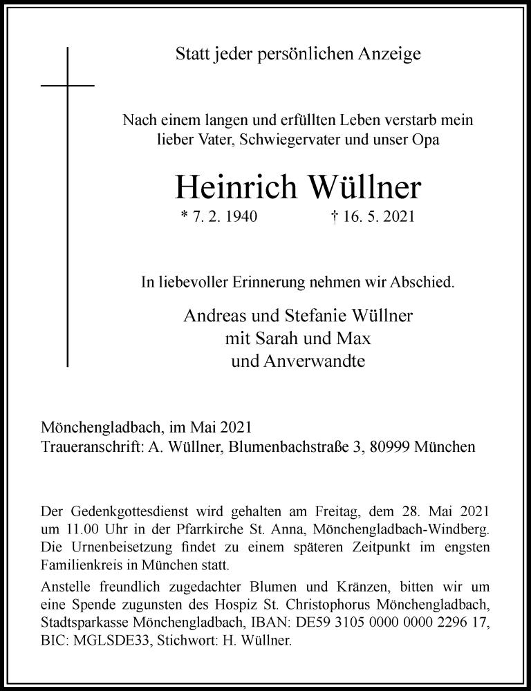 Traueranzeige für Heinrich Wüllner vom 22.05.2021 aus Rheinische Post