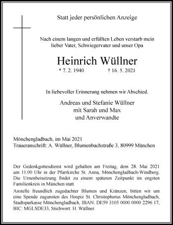 Traueranzeige von Heinrich Wüllner von Rheinische Post