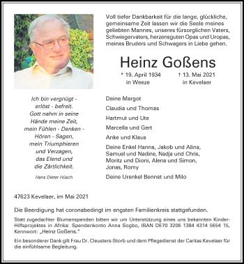 Traueranzeige von Heinz Goßens von Rheinische Post