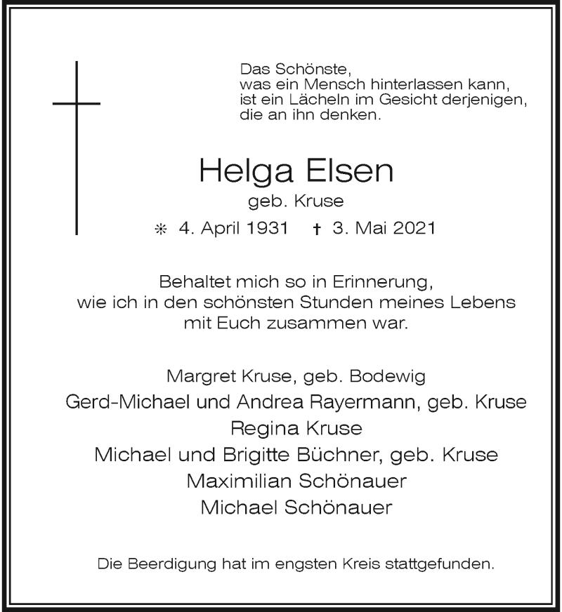 Traueranzeige für Helga Elsen vom 15.05.2021 aus Rheinische Post