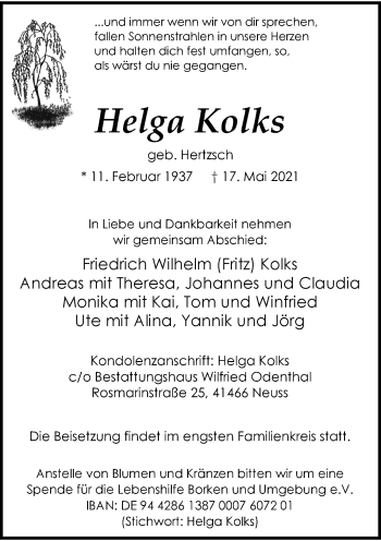 Traueranzeige von Helga Kolks von Rheinische Post