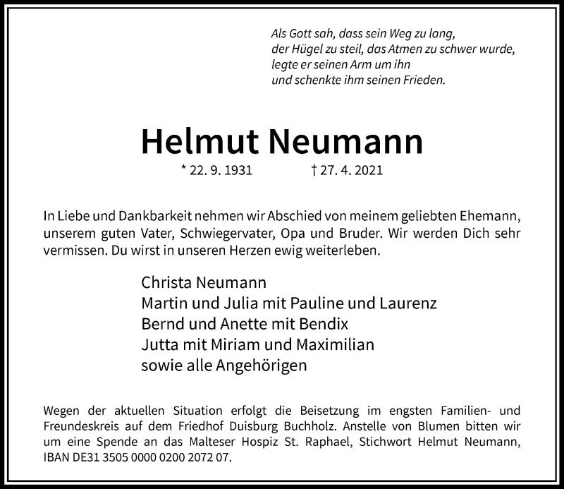 Traueranzeige für Helmut Neumann vom 29.05.2021 aus Rheinische Post
