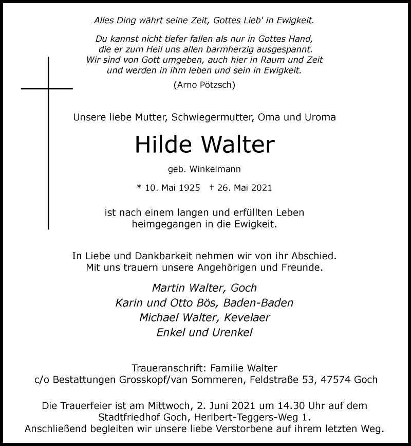Traueranzeige für Hilde Walter vom 31.05.2021 aus Rheinische Post