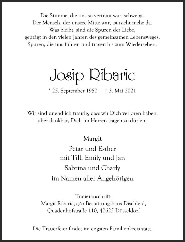 Traueranzeige für Josip Ribaric vom 15.05.2021 aus Rheinische Post