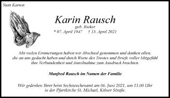 Traueranzeige von Karin Rausch von Rheinische Post