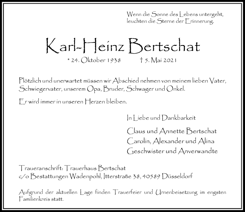 Traueranzeige für Karl-Heinz Bertschat vom 15.05.2021 aus Rheinische Post