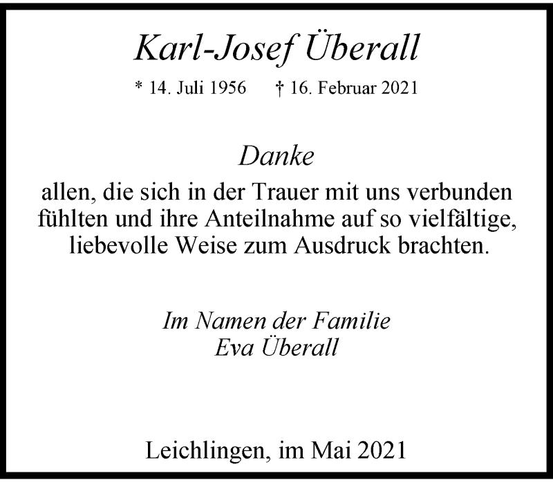 Traueranzeige für Karl-Josef Überall vom 29.05.2021 aus Rheinische Post