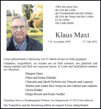Traueranzeige von Klaus Maxt von Rheinische Post