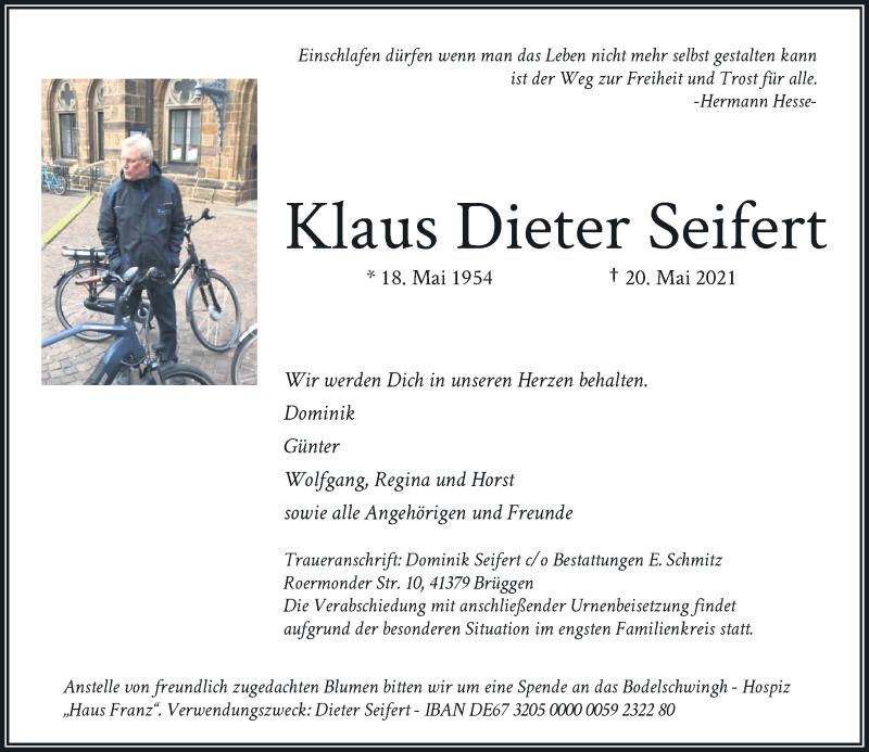 Traueranzeige für Klaus Dieter Seifert vom 29.05.2021 aus Rheinische Post