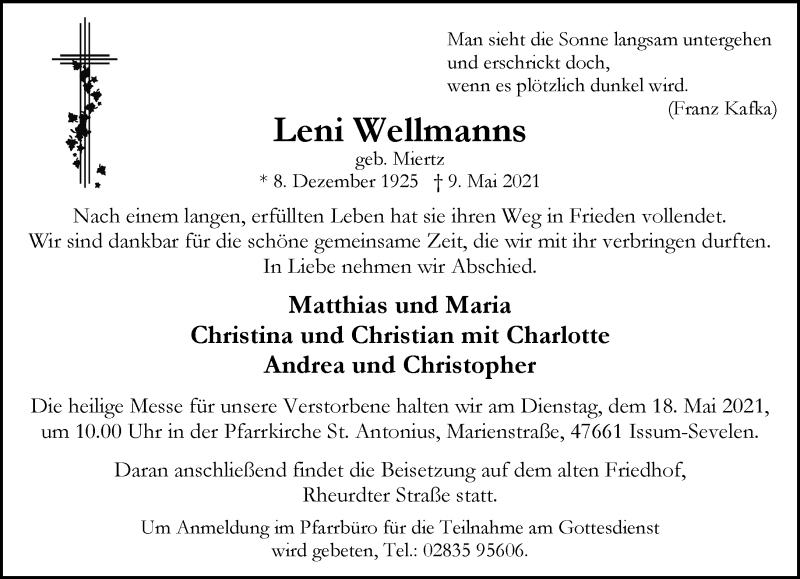 Traueranzeige für Leni Wellmanns vom 12.05.2021 aus Rheinische Post