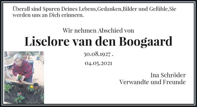 Traueranzeige für Liselore van den Boogaard vom 12.05.2021 aus Rheinische Post