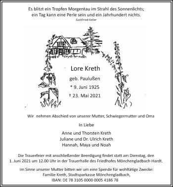 Traueranzeige von Lore Kreth von Rheinische Post