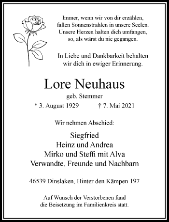 Traueranzeige von Lore Neuhaus von Rheinische Post