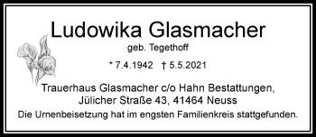 Traueranzeige von Ludowika Glasmacher von Rheinische Post