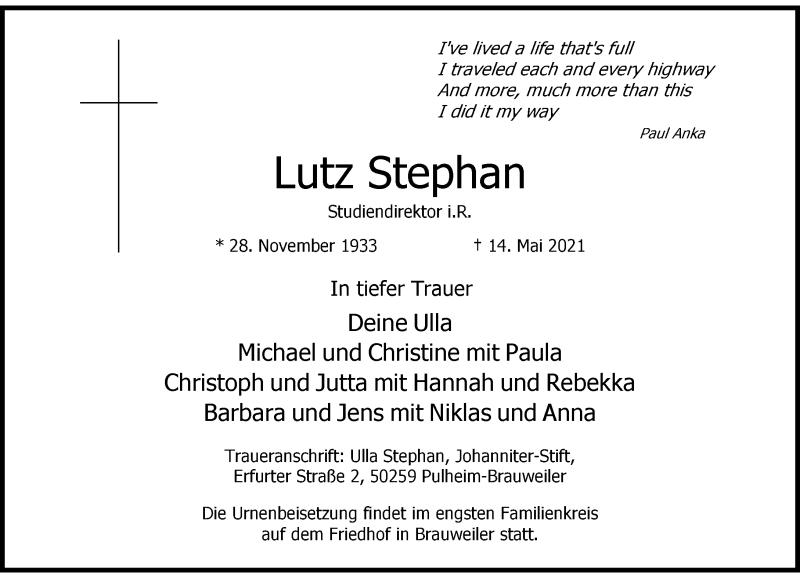 Traueranzeige für Lutz Stephan vom 29.05.2021 aus Rheinische Post