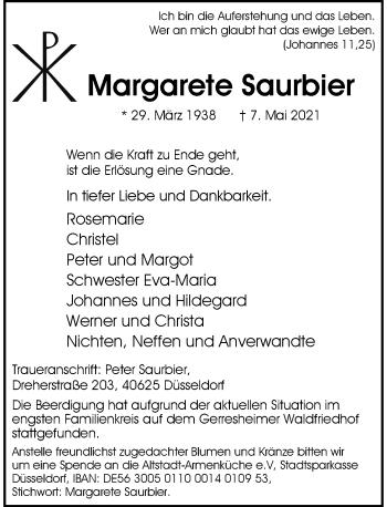 Traueranzeige von Margarete Saurbier von Rheinische Post