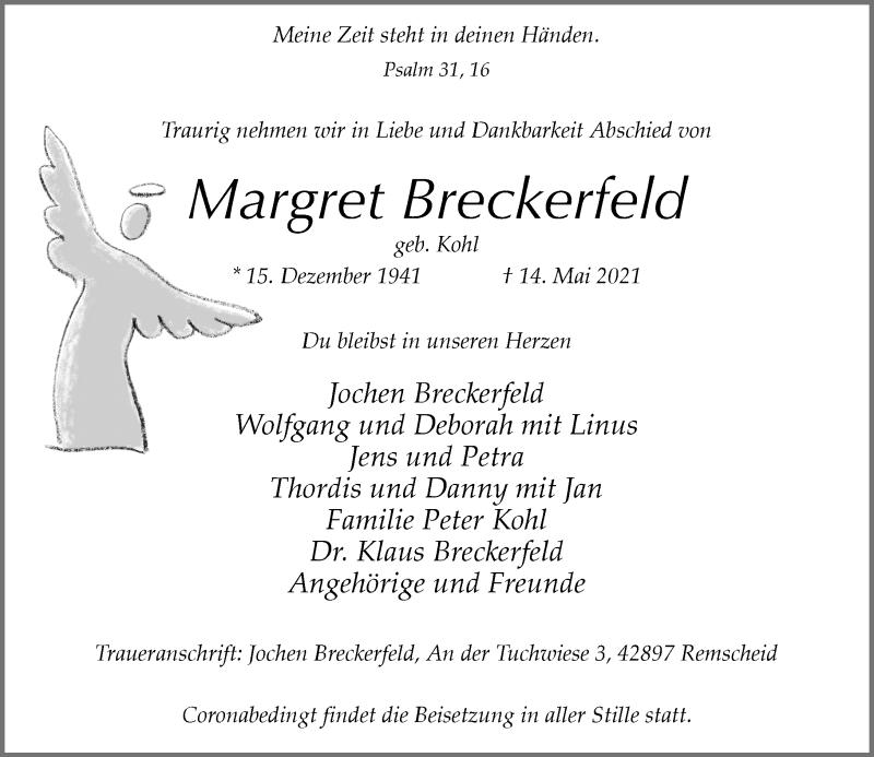 Traueranzeige für Margret Breckerfeld vom 22.05.2021 aus Rheinische Post