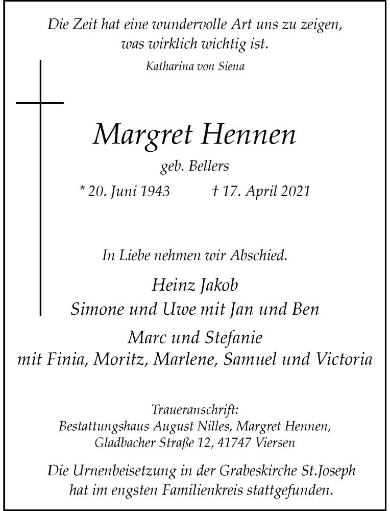 Traueranzeige für Margret Hennen vom 12.05.2021 aus Rheinische Post