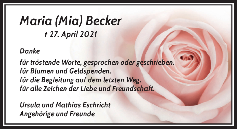 Traueranzeige für Maria Becker vom 22.05.2021 aus Rheinische Post