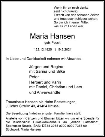 Traueranzeige von Maria Hansen von Rheinische Post