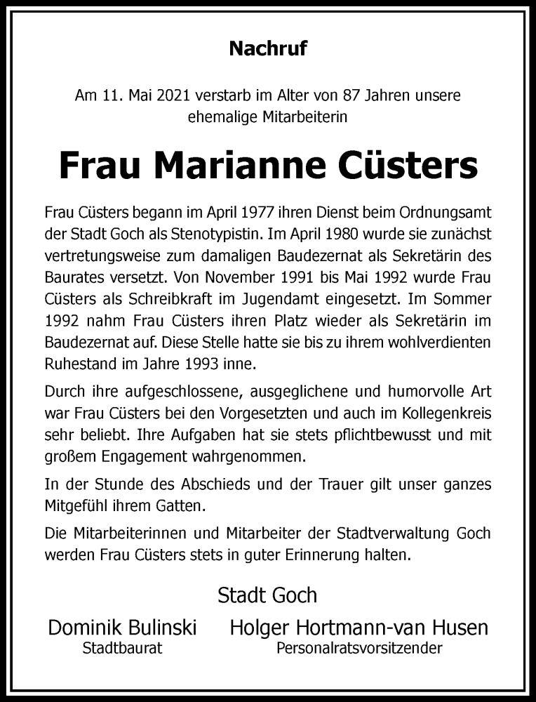 Traueranzeige für Marianne Cüsters vom 28.05.2021 aus Rheinische Post