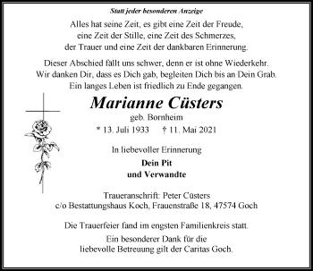 Traueranzeige von Marianne Cüsters von Rheinische Post