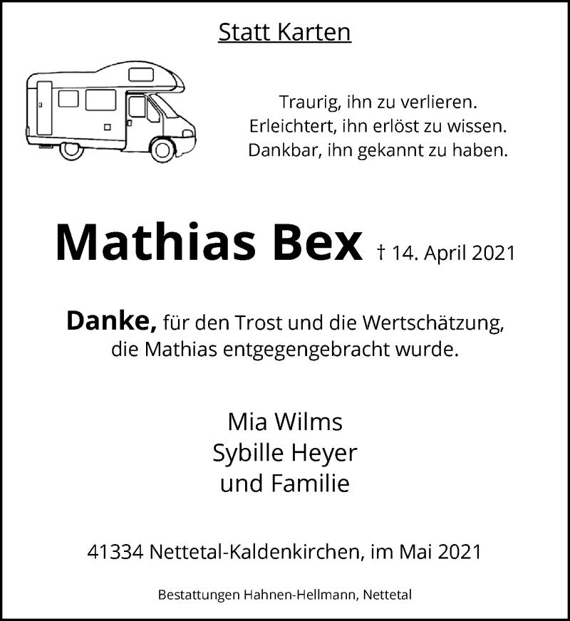 Traueranzeige für Mathias Bex vom 29.05.2021 aus Rheinische Post