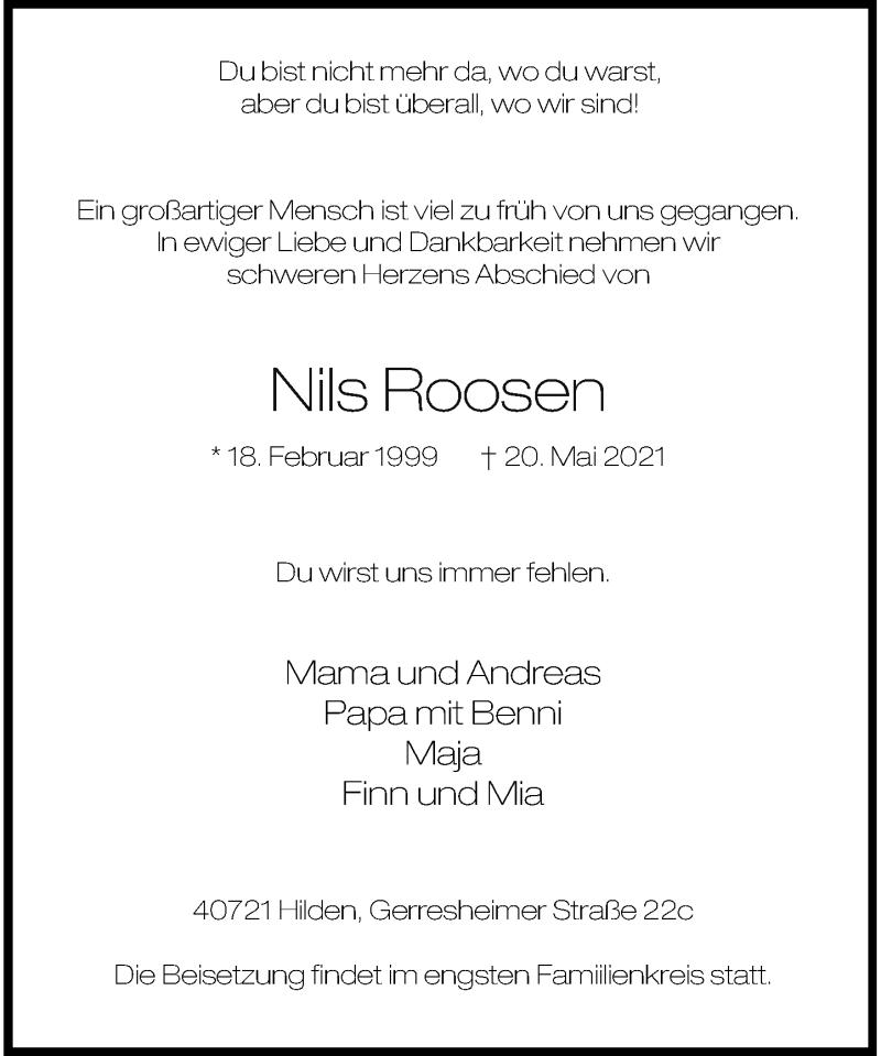 Traueranzeige für Nils Roosen vom 29.05.2021 aus Rheinische Post