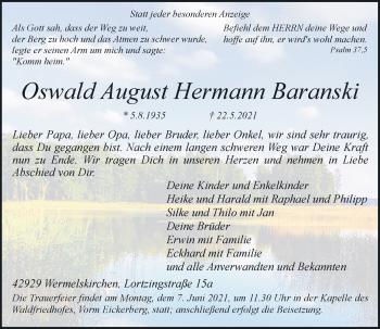 Traueranzeige von Oswald August Hermann Baranski von Rheinische Post