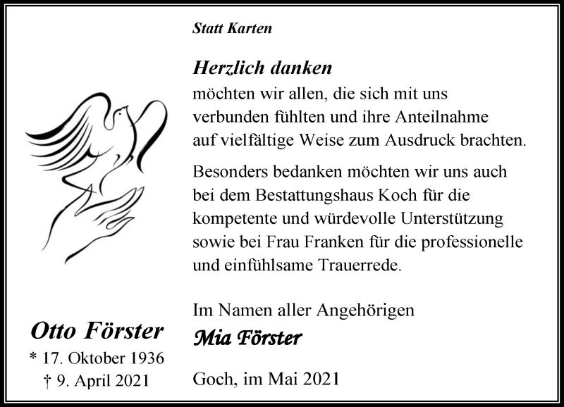 Traueranzeige für Otto Förster vom 15.05.2021 aus Rheinische Post