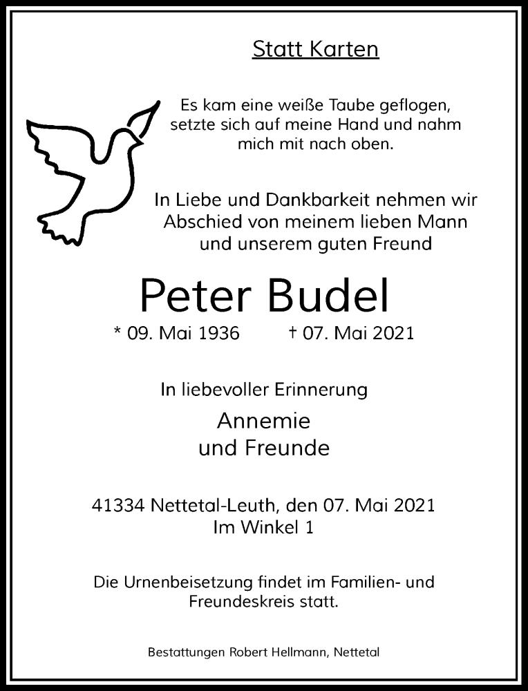 Traueranzeige für Peter Budel vom 15.05.2021 aus Rheinische Post