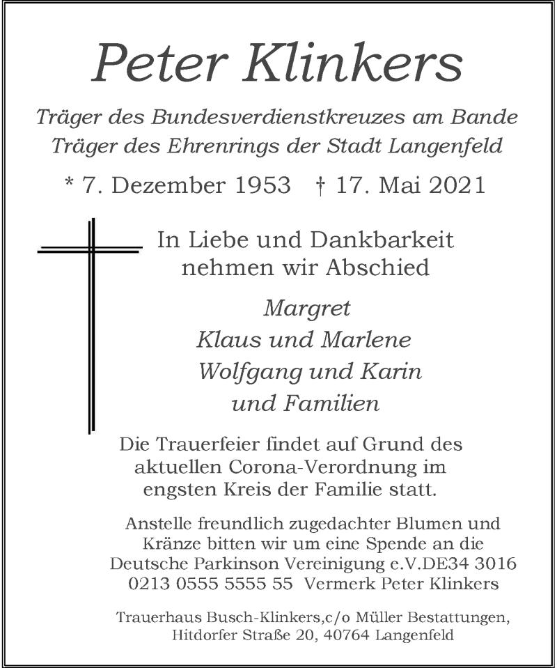 Traueranzeige für Peter Klinkers vom 22.05.2021 aus Rheinische Post